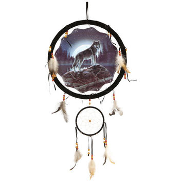 Wolf and Moon Dream Catcher 13 inch with Feathers
