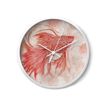 Gold fish peach WALL CLOCK natural colors home decor functional art wall decor office decor design art decor