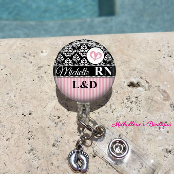 Monogram Badge Reel, Retractable Badge Holder, Personalized Badge Reels, Doctor Badge Reels, Nurse Badges,RN BSN, LPN,Midwife,Damask Pink