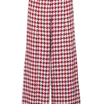 Oscar de la Renta - Plaid cotton-blend tweed wide-leg pants