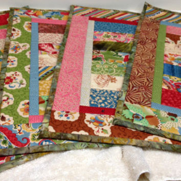 Ecclectic Quilted Placemats - Set of 4