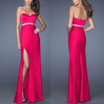 Pink Strapless High Side Slit Maxi Dress with Silver Belt