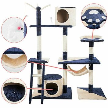 "70"" Cat Tree Condo Furniture Scratch Post PlayHouse"