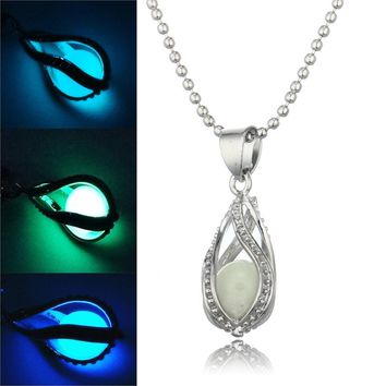 Steampunk Glow In the Dark Necklace Silver Color with Luminous Stone Locket Pendant Choker Mermaid Necklace Jewelry for Unisex
