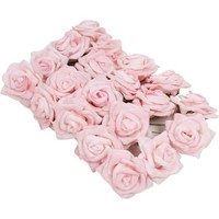 Pink Wired Rose Heads 20 Pack