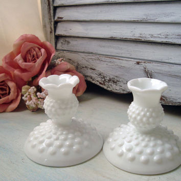 Vintage Milk Glass Candle Holders, Hobnail Candle Stick Holders, Milk Glass Pair of Candlesticks, Taper Candle Holders, Shabby Cottage Chic