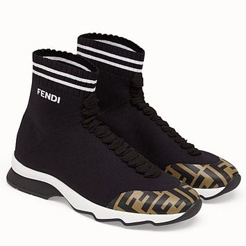 FENDI men and women Socks boots black