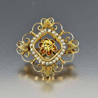 Edwardian Gold Pearl Peridot Brooch Pin Antique 1900s