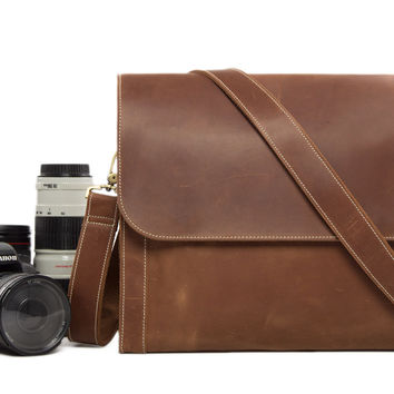 Leather DSLR Camera Bag in Coffee Brown