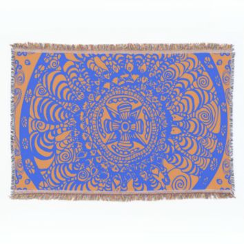 Orange and Blue Aztec Mandala Throw Blanket