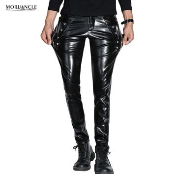 MORUANCLE Men Skinny Faux PU Leather Pants Shiny Black Trouser Nightclub Stage Performance Singers Dancer Suede Joggers Stretchy