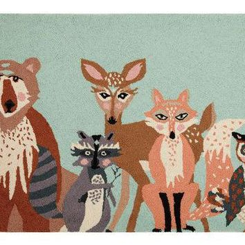 HELLO ANIMALS HOOK RUG 27X40""