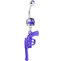 Purple Gem Revolver Dangle Belly Ring | Body Candy Body Jewelry
