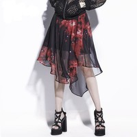 Asymmetrical Red Print Summer Beach Casual Goth Skirt Fashion Young Girl Bottoms Chiffon Gothic Skirt