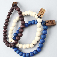 The GW Bracelet 3-Pack in Blue, Natural, & Dark Wood