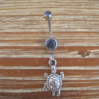 Belly Button Ring - Body Jewelry - Silver Turtle with Double Light Purple Gem Stone Belly Button Ring