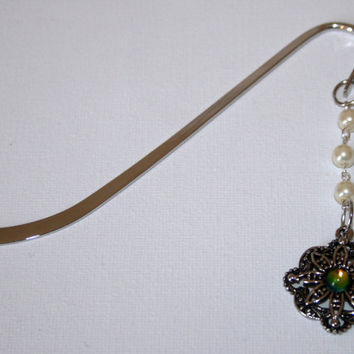 Silver Metal Bookmark with Large Ornate Flower Pendant with Cabochon Inset Centre of Iridescent Glass and Pearl Beads