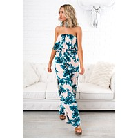Tropic Of Discussion Jumpsuit (Blush-Green)