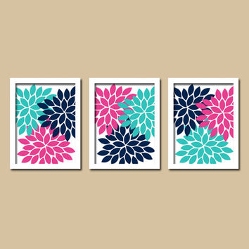 Turquoise Pink Navy Flower Burst Dahlia Artwork Set of 3 Trio Prints Decor Abstract Picture Bedroom Wall Art Bathroom