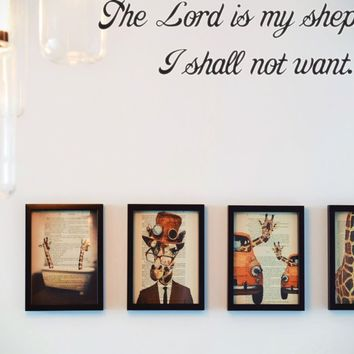 The Lord is my shepherd, I shall not want. Style 29 Vinyl Decal Sticker Removable
