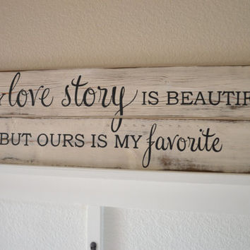 Love Story Wood Sign