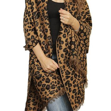 CHEETAH PRINT FRINGED WRAP SCARF