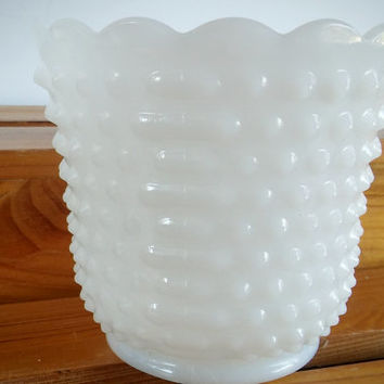 Anchor Hocking Fire King Hobnail Jar, Hobnail Milk Glass Bowl