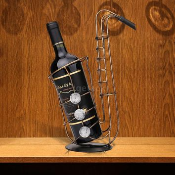 Home & Living Metal Sax Wine Rack Beautiful And Practical Wine Rack Creative Wine Bottle Holder Practical Ornament Crafts (Size: