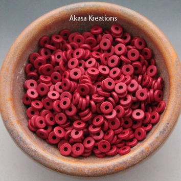 8mm Red Mykonos Greek Ceramic Beads (packs of 25 or 50) Disc Spacers Roundels Donuts Root Chakra Color Therapy Willpower Passion Strength