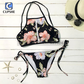 Cupshe 2016 New Arrival Hot Women Lost in Paradise Blooming Floral Printing Tank Bikini Set