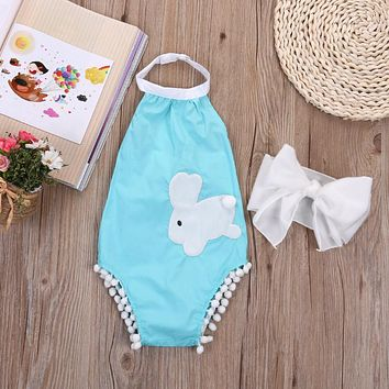Baby rompers & headbands infant girl Newborn baby clothes Blue Rabbit cotton suspenders sleeveless rompers suits Coverall