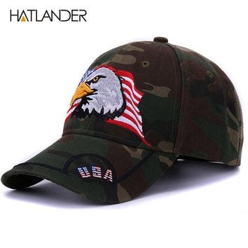 Embroidery Eagle baseball caps for men women outdoor fishing hats USA flag army baseball hats