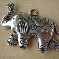 1PC - Elephant Charm Pendant - Antique Silver - 50x30mm - Findings by ZARDENIA