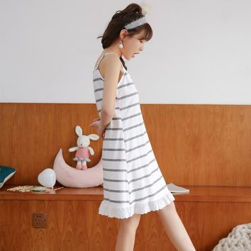 Cotton Striped Home Dress Sleepwear Women 2018 Summer Spaghetti Strap Nightgowns Female Lounge Women Indoor Clothing Nightdress