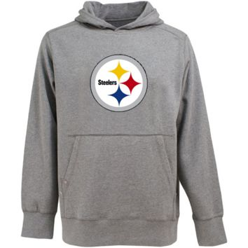 Antigua Pittsburgh Steelers Signature Pullover Hoodie - Ash
