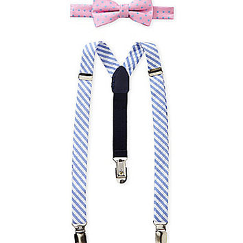 Starting Out Stripe Seersucker & Dotted Bow Tie Set - Pink