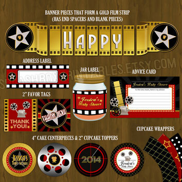 Hollywood Red Carpet Printable Baby Shower Package - A Star is Born Film Baby Shower DIY Set - invitation, banner, games