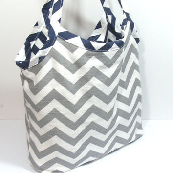 Navy and Gray Tote, Chevron Beach Bag, Summer Beach Tote, Beach Bag, Large Beach Bag, Large Chevron Bag, Teacher Tote Bag, Bridesmaid Tote