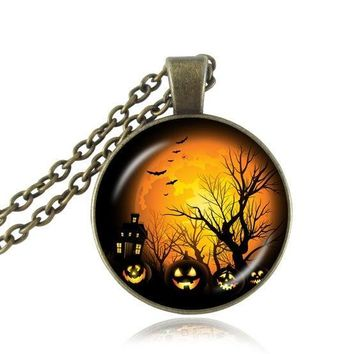 Orange full moon necklace life tree pendant Halloween bat trick or treat pumpkin lantern jewelry cabochon black necklace vintage