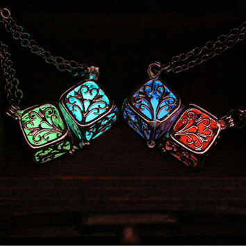 Orange glow in the dark silver 3d cube pendant necklace, key ring, or rear view mirror hanger