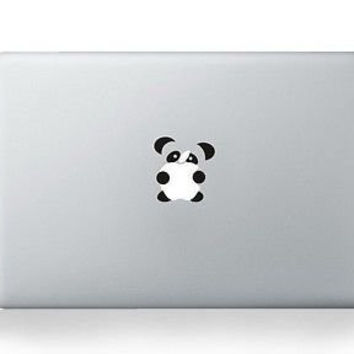 "DallowayCabin Removable Vinyl Leaves Flower/Mermaid/Maleficent/Lovely Panda/Atom/DJ Headphones/Yoshi/Puppy Dogs Decal for Apple Macbook/Macbook Air/Macbook Pro 13""/15""/17"" (Lovely Panda)"