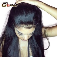 Malaysian Straight Hair Lace Front Human Hair Wigs For Black Women With Baby Hair Gossip Lace Front Wigs Swiss Lace Wig Non Remy