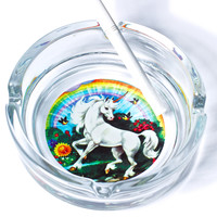 Hollywood Mirror Don't Stop Believin' Unicorn Ashtray Clear One