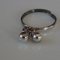 Dangle Bead Adjustable Toe Ring 925 Sterling Silver