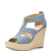 Damita Zip-Front Wedge Espadrille Sandal, Washed Denim