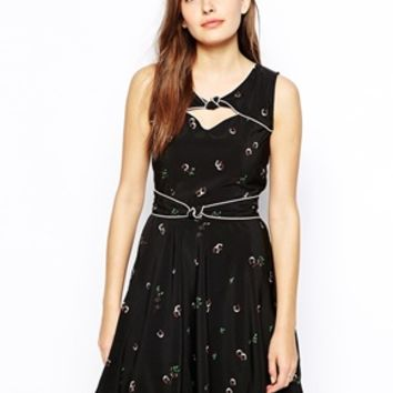 Trollied Dolly Twist and Shout Dress - Black