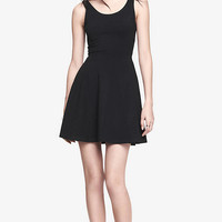 STRETCH COTTON SKATER DRESS - BLACK from EXPRESS