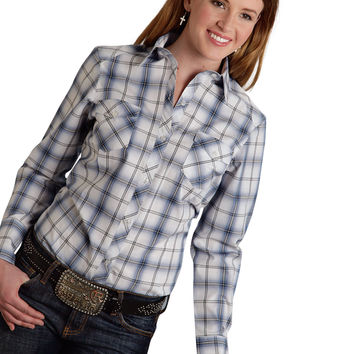 Roper Ladies 9543 Black And Blue Ombre Amarillo Blue Horizon Long Sleeve Shirt Button Closure - 2 Pocket