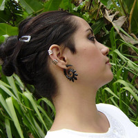 Fake gauge,  Black Horn Split Gauge ,Sprial  Earrings, Fancy Tribal