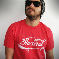T shirt men enjoy the end red white font text cool